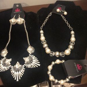3 paparazzi items necklace (2) bracelet (1)